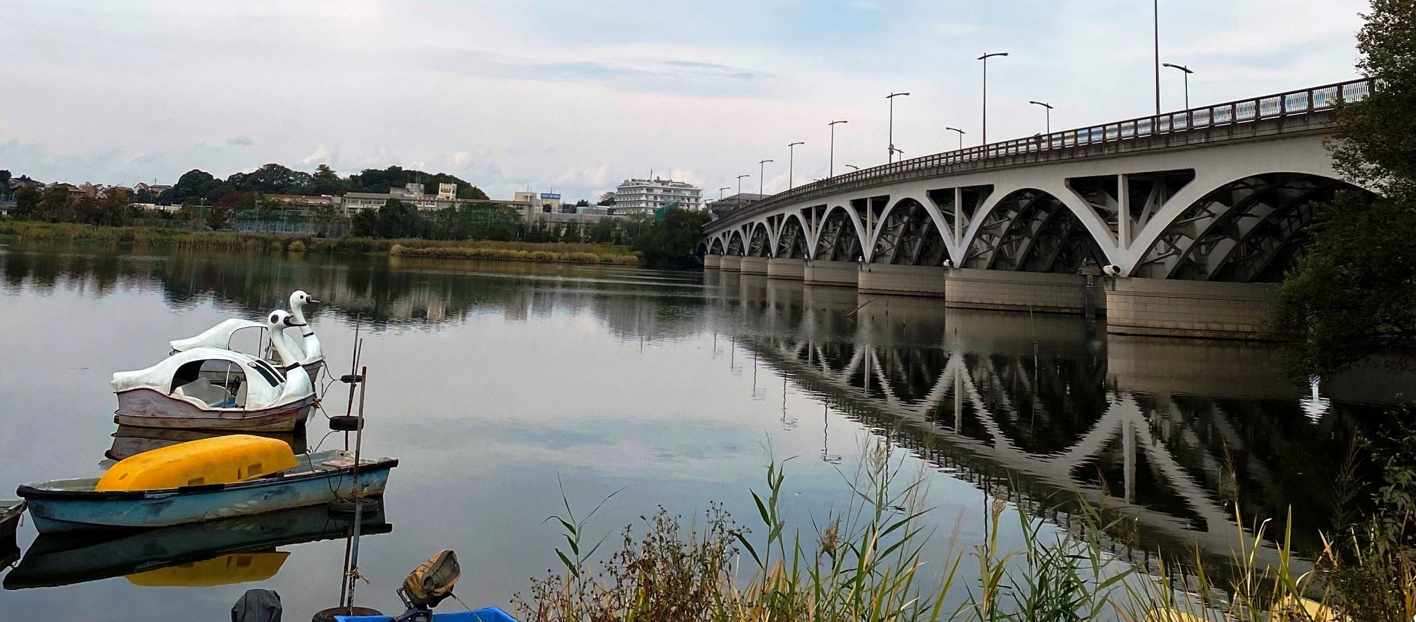 手賀大橋とスワンボート