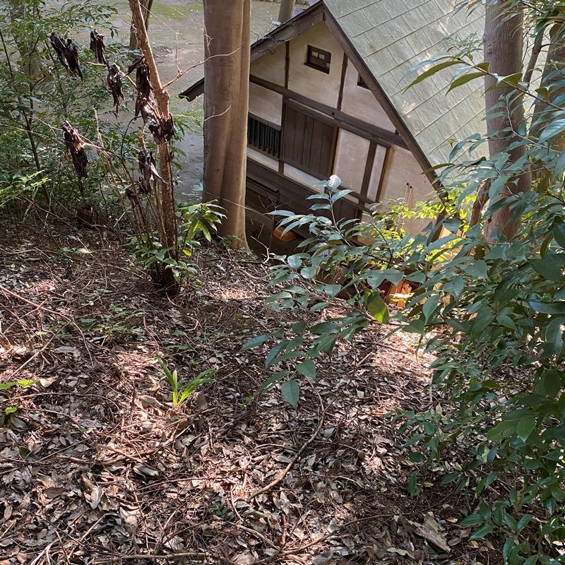 階段の上から眺めた志賀直哉庭園跡書斎